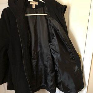 Jackets & Blazers - Black wool zip pea coat